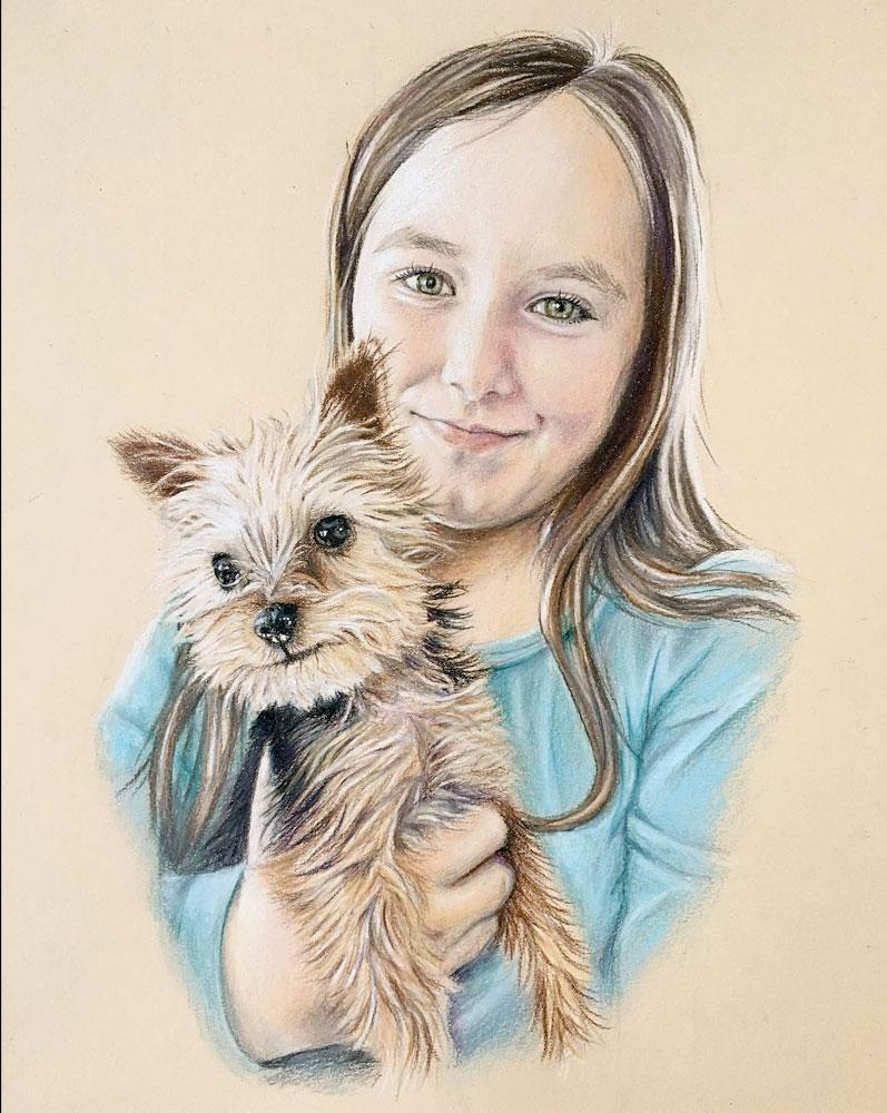 Girl with Yorkie Puppy - Children and pet portraits Halifax Nova Scotia